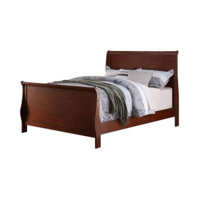 Clean and Convenient Cherry Finish Full Size Wooden Bed