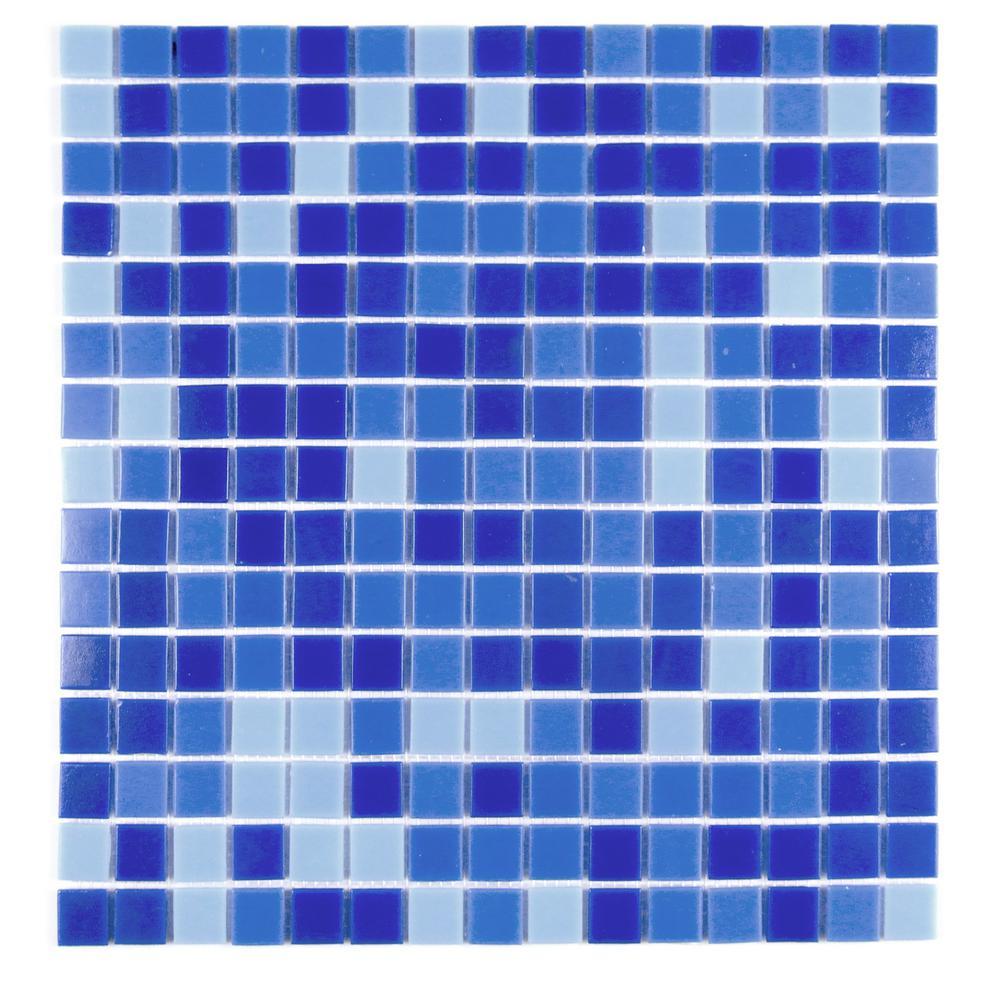 Felicity Dark Blue 13 in. x 13 in. Glass Mosaic Tile