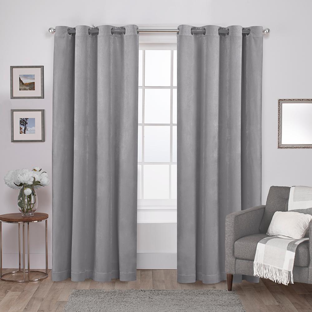 Velvet 54 in. W x 108 in. L Velvet Grommet Top Curtain Panel in Silver (2 Panels)