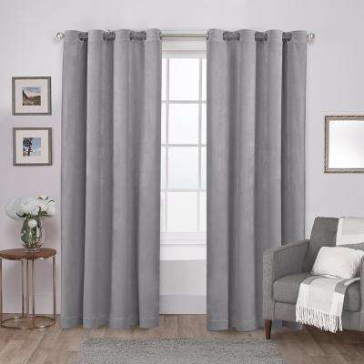 Velvet 54 in. W x 108 in. L Velvet Grommet Top Curtain Panel in Silver (2 Panels)