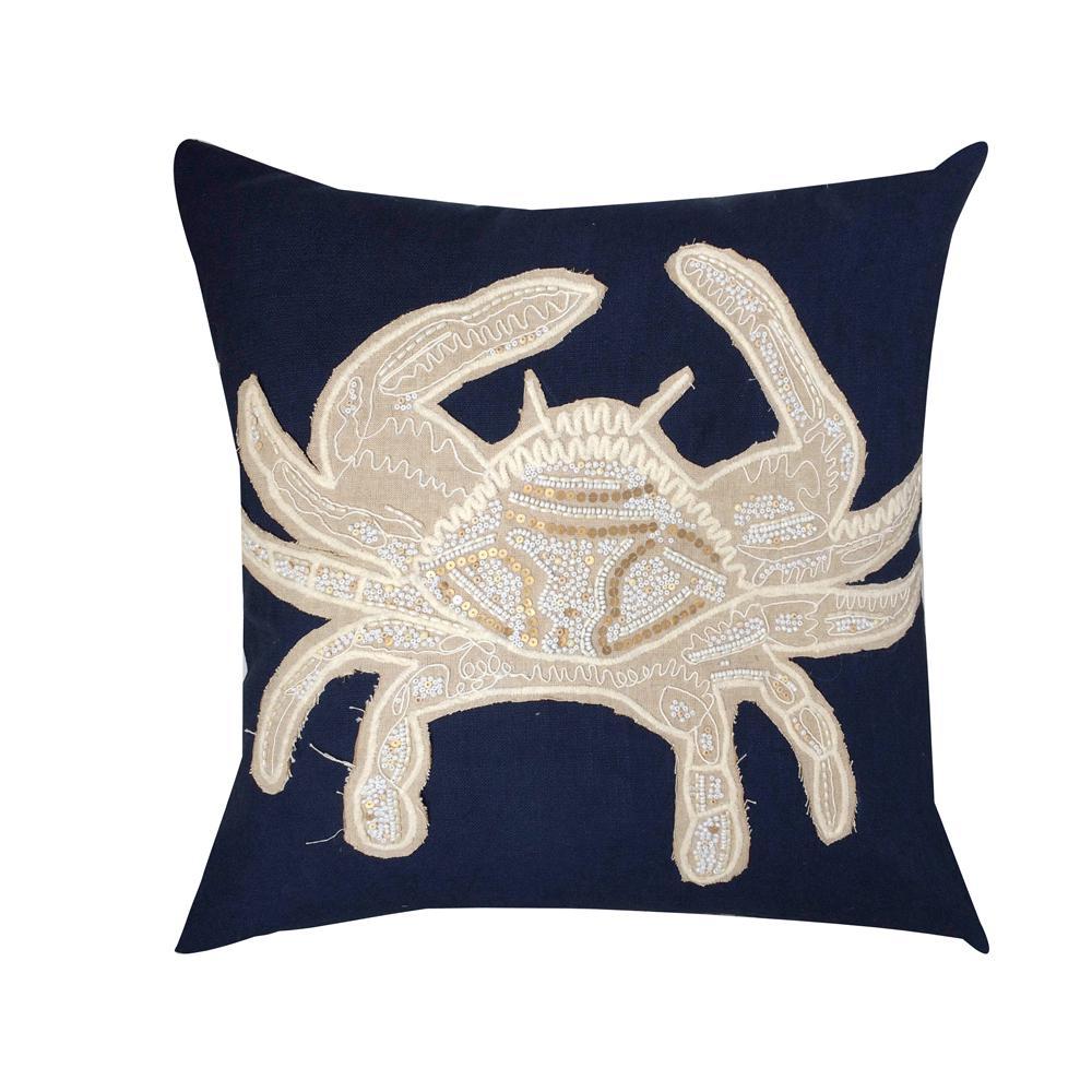 A1HC Decorative Organza Crab Cotton 20 in. x 20 in. Decorative Pillow