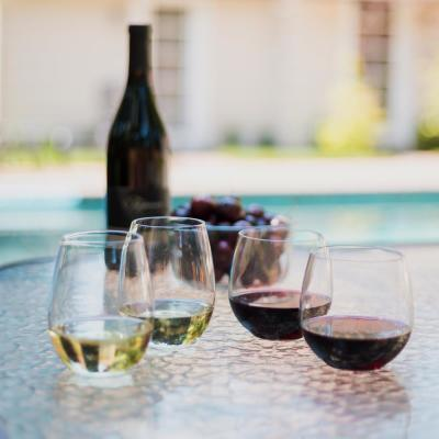 Indoors Out 4-Piece Break-Resistant Stemless Wine Glass Set