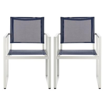 Neval Navy/White Stackable Metal Outdoor Dining Chair (2-Pack)