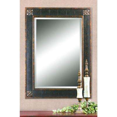 38 in. x 28 in. Black Framed Mirror