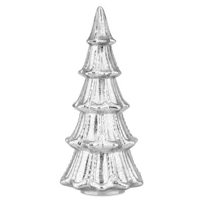 14 in. Christmas Silver Faux Mercury Glass Tree