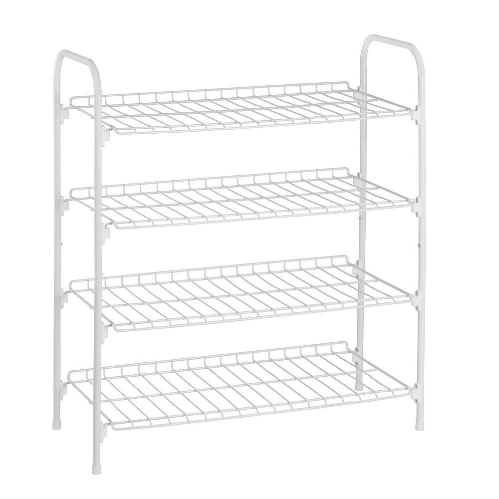 27.6 in. x 24.8 in. x 11.8 in. 4 Tier White Steel Wire Floor Accessory Rack
