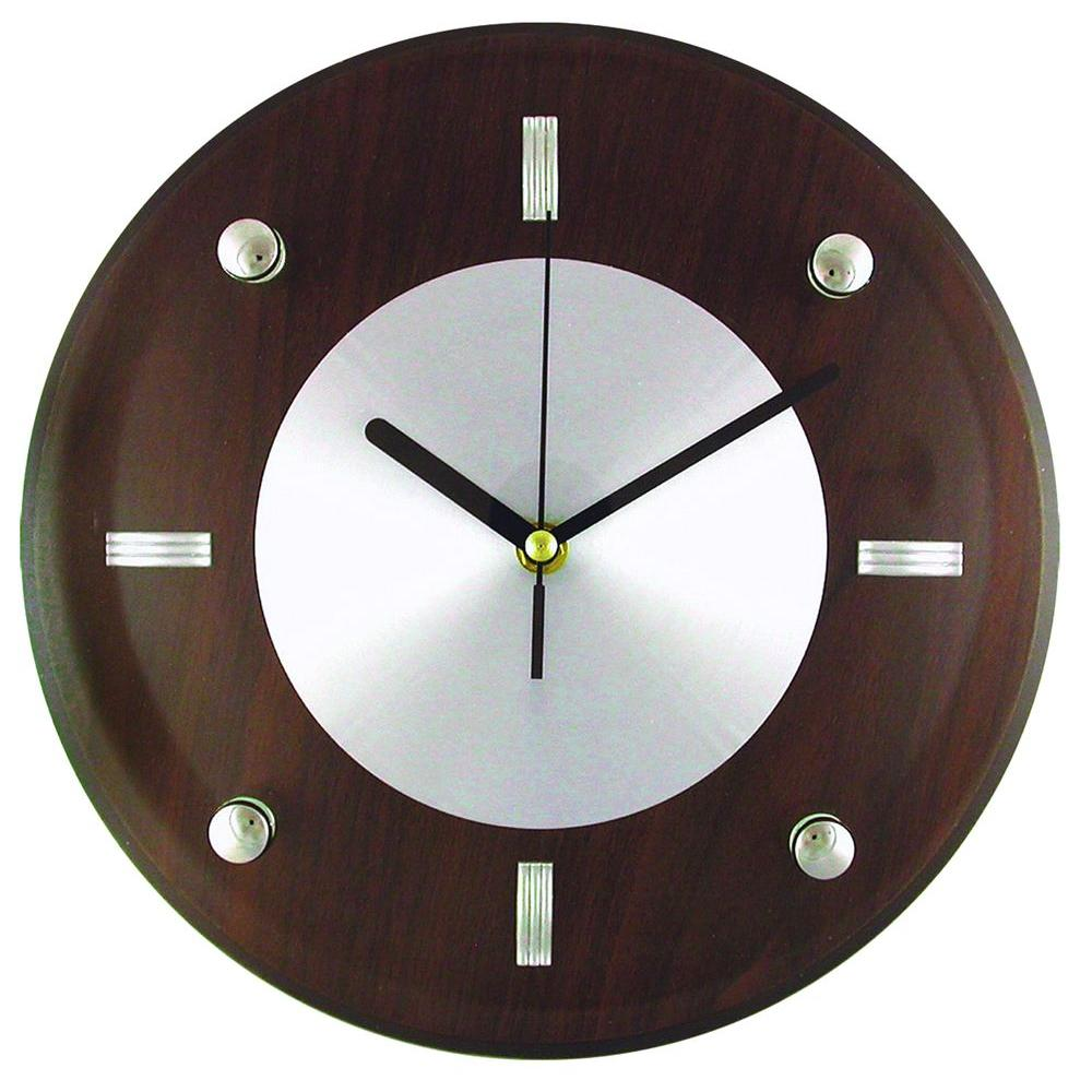 Timekeeper Products 10-3/4 in. Glass and Brown Wood Wall Clock with Quartz Movement