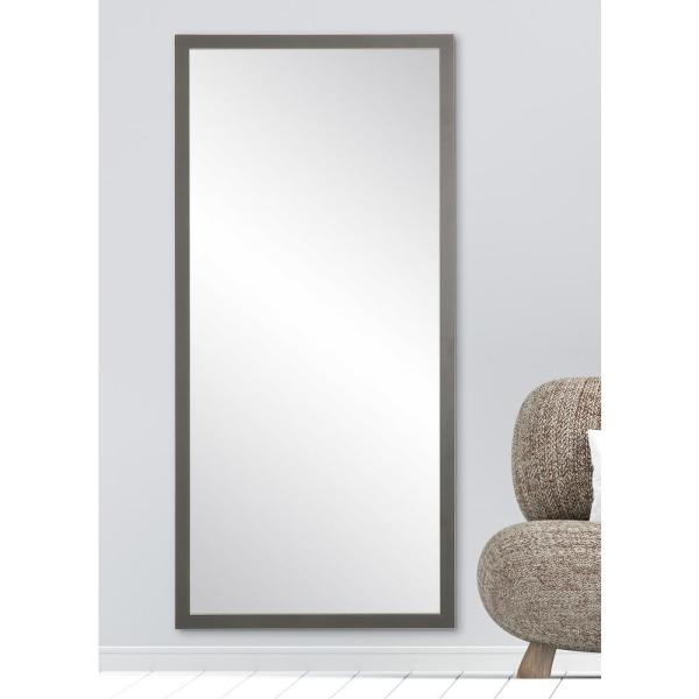 Oversized Dark Gray Wood Hooks Mid-Century Modern Mirror (63 in. H X 29.5 in. W)