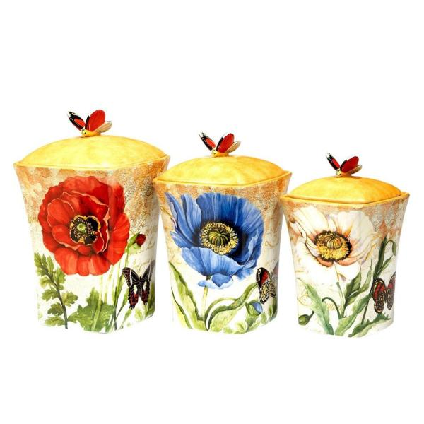 Certified International Poppy Garden 3-Piece Canister Set