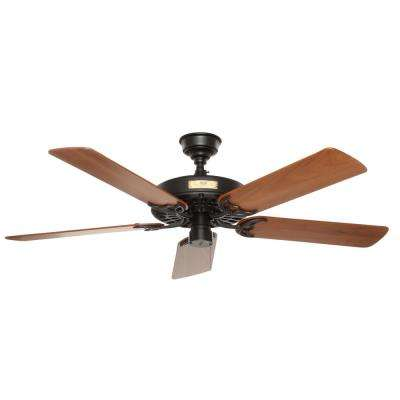 Original 52 in. Indoor/Outdoor Black Ceiling Fan with Teak Blades