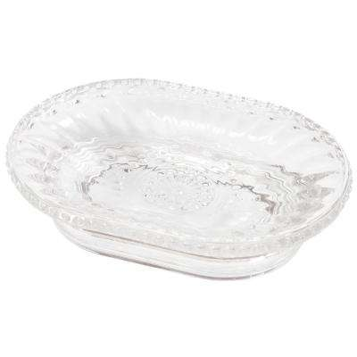 4-3/4 in. x 3-1/2 in. x 1-1/4 in. H Floral Scroll Clear Glass Soap Dish Soap Tray Holder