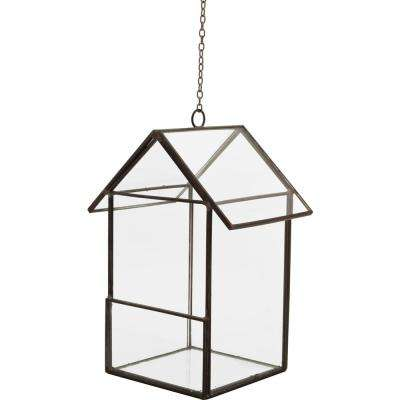 Mika 3.5 in. W x 6 in. H Black Faceted Glass Hanging Birdhouse Terrarium