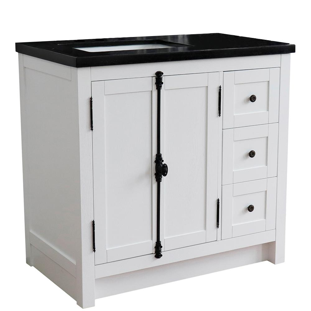 Bellaterra Home 37. in. W x 22 in. D x 36 in. H Bath Vanity in Glacier Ash with Black Granite Vanity Top and Left Side Rectangular Sink