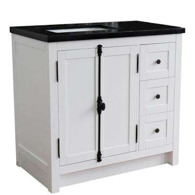 37. in. W x 22 in. D x 36 in. H Bath Vanity in Glacier Ash with Black Granite Vanity Top and Left Side Rectangular Sink