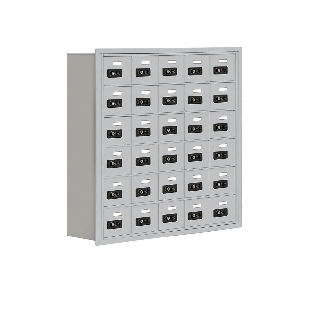 Salsbury Industries 19000 Series 37 in. W x 36.5 in. H x 8.75 in. D 30 A Doors R-Mount Resettable Locks Cell Phone Locker in Aluminum