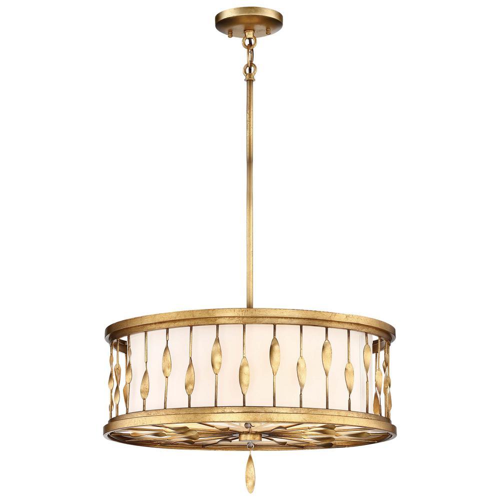 Olivetas 3-Light il Terrace Gold Leaf Convertible Pendant and Semi Flush Mount