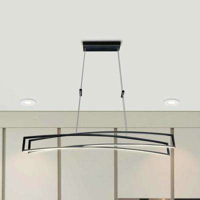 Sirius 77-Watt Black Integrated LED Linear Chandelier
