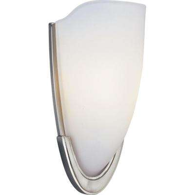 1-Light Brushed Nickel Wall Sconce with Etched Glass