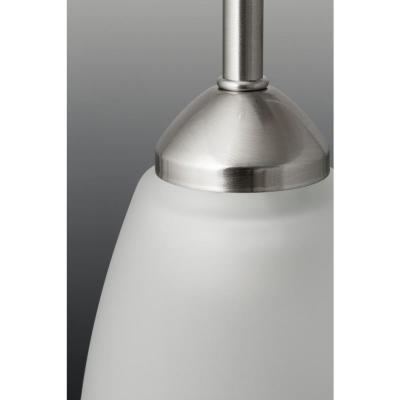 Gather 1-Light Brushed Nickel Mini Pendant with Etched Glass