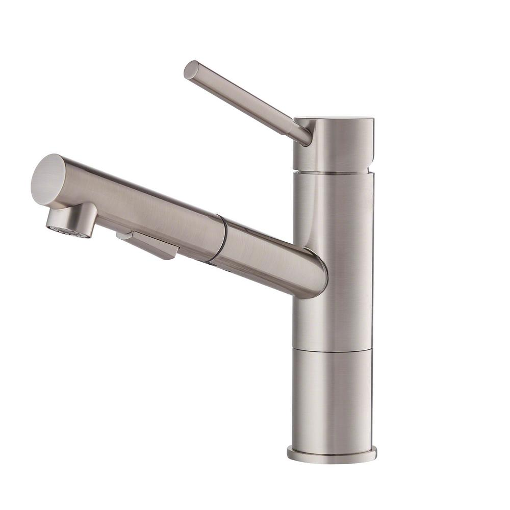 Charming Geo Axis Single Handle Pull Out Sprayer Kitchen Faucet In Stainless Steel