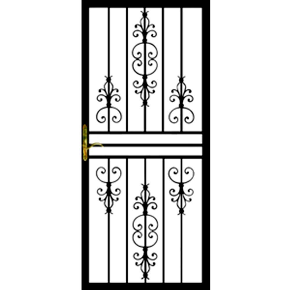 Grisham 36 in. x 80 in. 108 Series Black Hinge Right Flower Security Door with Self-Storing Glass Feature