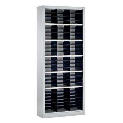 84 in. H x 34.5 in. WH x 13 in. D Steel Commercial Literature Organizer Shelving Unit in Gray