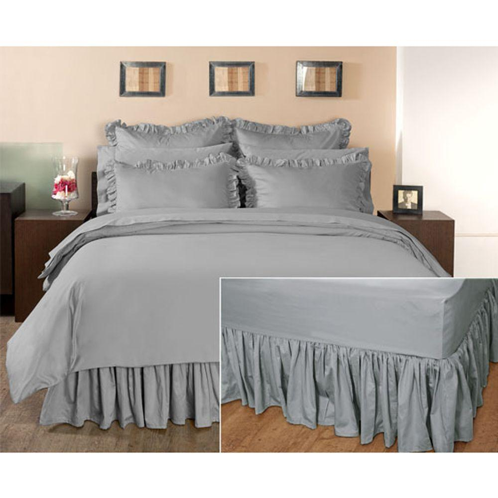 Home Decorators Collection Ruffled Grant Gray Full Bedskirt