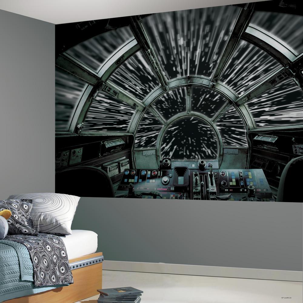 Roommates Star Wars Millennium Falcon Black Grey Vinyl Peelable Roll Covers 63 Sq Ft Rmk11458m The Home Depot