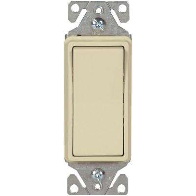 15 Amp 120-277-Volt Heavy-Duty Grade 3-Way Decorator Lighted Rocker Switch with Back and Push Wire, Ivory