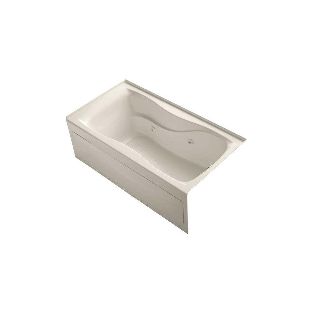 KOHLER Hourglass 5 ft. Acrylic Right Drain Hourglass Rectangular Alcove Whirlpool Bathtub in Almond