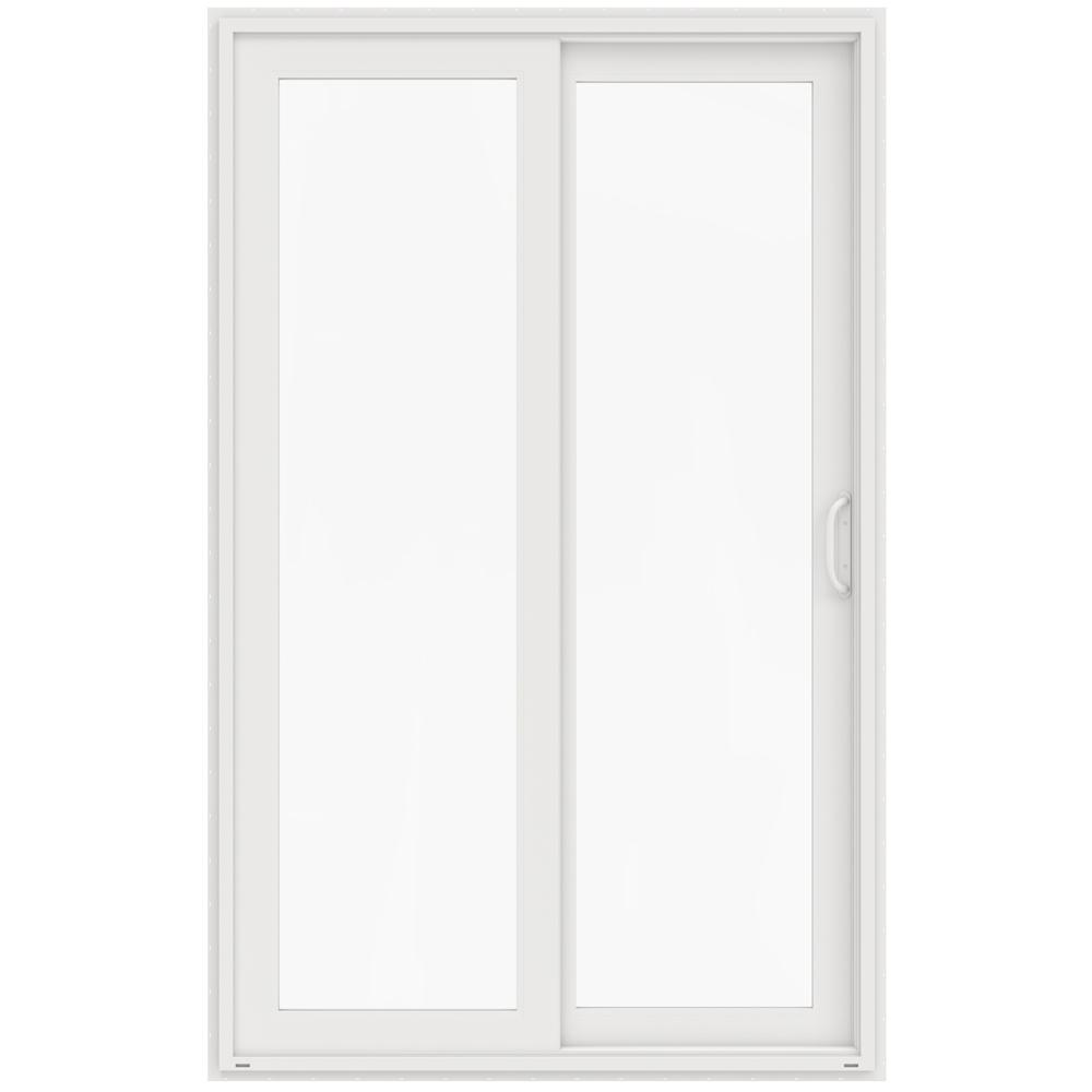 Jeld wen 60 in x 96 in v 4500 white vinyl right hand for White sliding patio doors