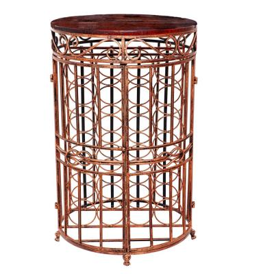 Russian River 20.5 in. x 33.5 in. 24-Bottle Antique Copper, Rosewood Stained Rubberwood Wine Jail