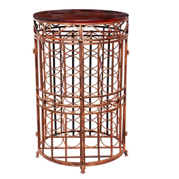 Old Dutch Russian River 20.5 in. x 33.5 in. 24-Bottle Antique Copper, Rosewood Stained Rubberwood Wine Jail