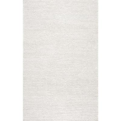 Caryatid Chunky Woolen Cable Off-White 10 ft. x 14 ft. Area Rug