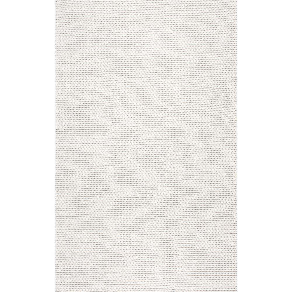 Nuloom Chunky Woolen Cable Off White 5 Ft X 8 Ft Area