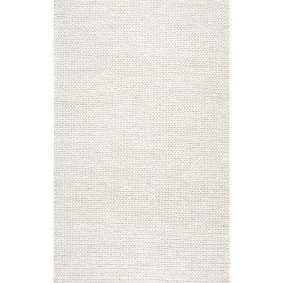 Caryatid Solid Wool Shag Off White 8 ft. x 10 ft. Area Rug