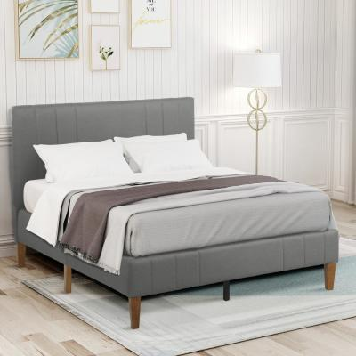 Gray Queen Tufted Upholstered Platform Bed