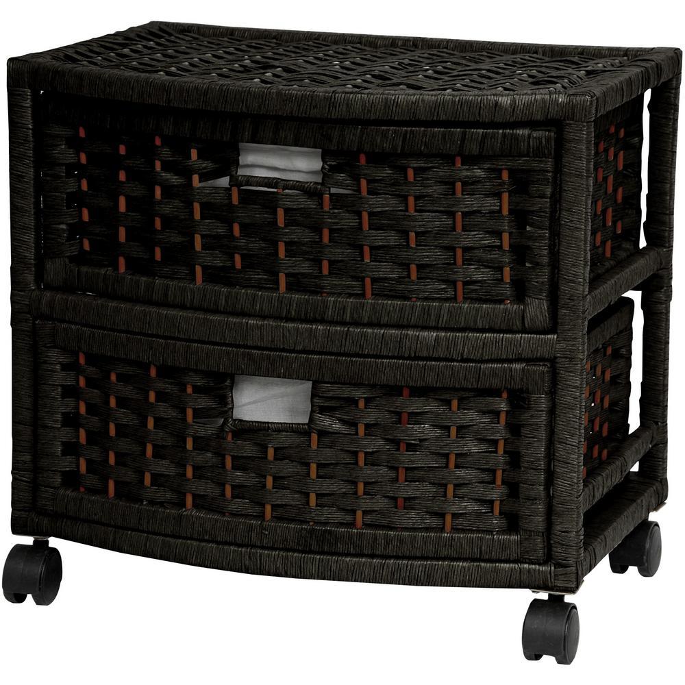 Oriental Furniture 2-Drawer Black Natural Fiber Trunk JH09-051-2-BLK