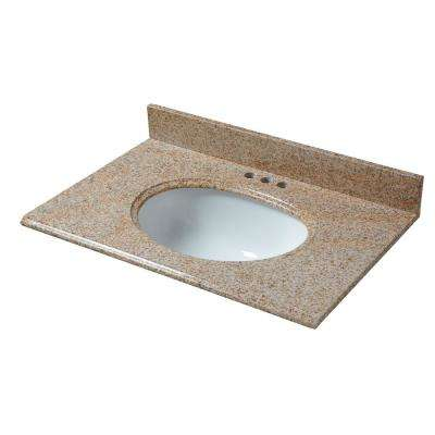 31 in. W x 22 in. D Granite Vanity Top in Beige with White Basin