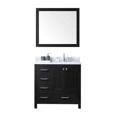 Caroline Premium 36 in. W Bath Vanity in Zebra Gray with Marble Vanity Top in White with Square Basin and Mirror