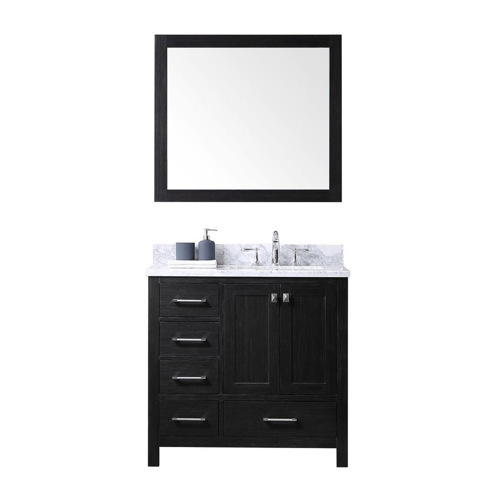 Virtu Usa Caroline Premium 36 In W Bath Vanity Zebra Gray With Marble