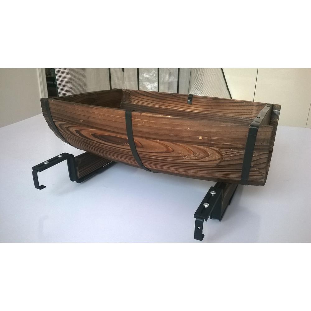 Gardenised 20 In X 75 In Brown Wooden Half Barrel Adjustable Deck Railing Planter
