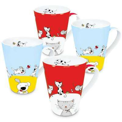 Konitz 4-Piece Assorted Globetrotter Cat and Dog Porcelain Mug Set