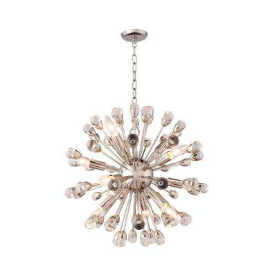 12-Light Nickel Finish Chandelier with Glass Orb Accents