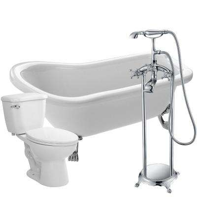 Pegasus 5 ft. Acrylic Clawfoot Non-Whirlpool Bathtub in White with Tugela Faucet and Kame 1.28 GPF Toilet