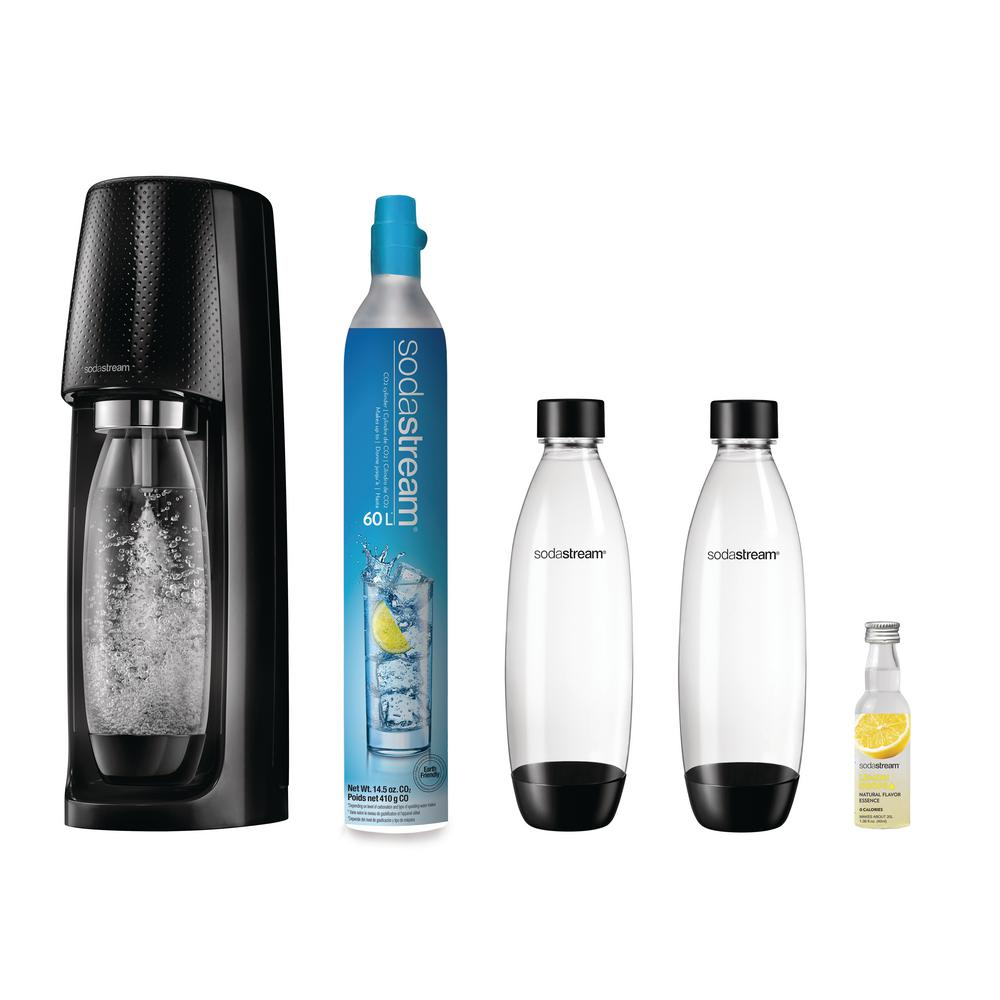 SodaStream SodaStream Fizzi Black Sparkling Water Maker Kit with 3-Carbonating Bottles and Lemon Fruit Drops