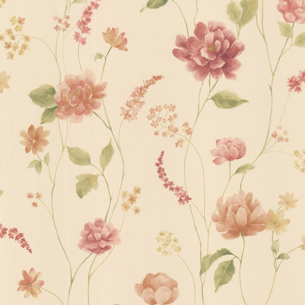 Brewster Hanne Beige Floral Pattern Wallpaper Sample 347 20105sam