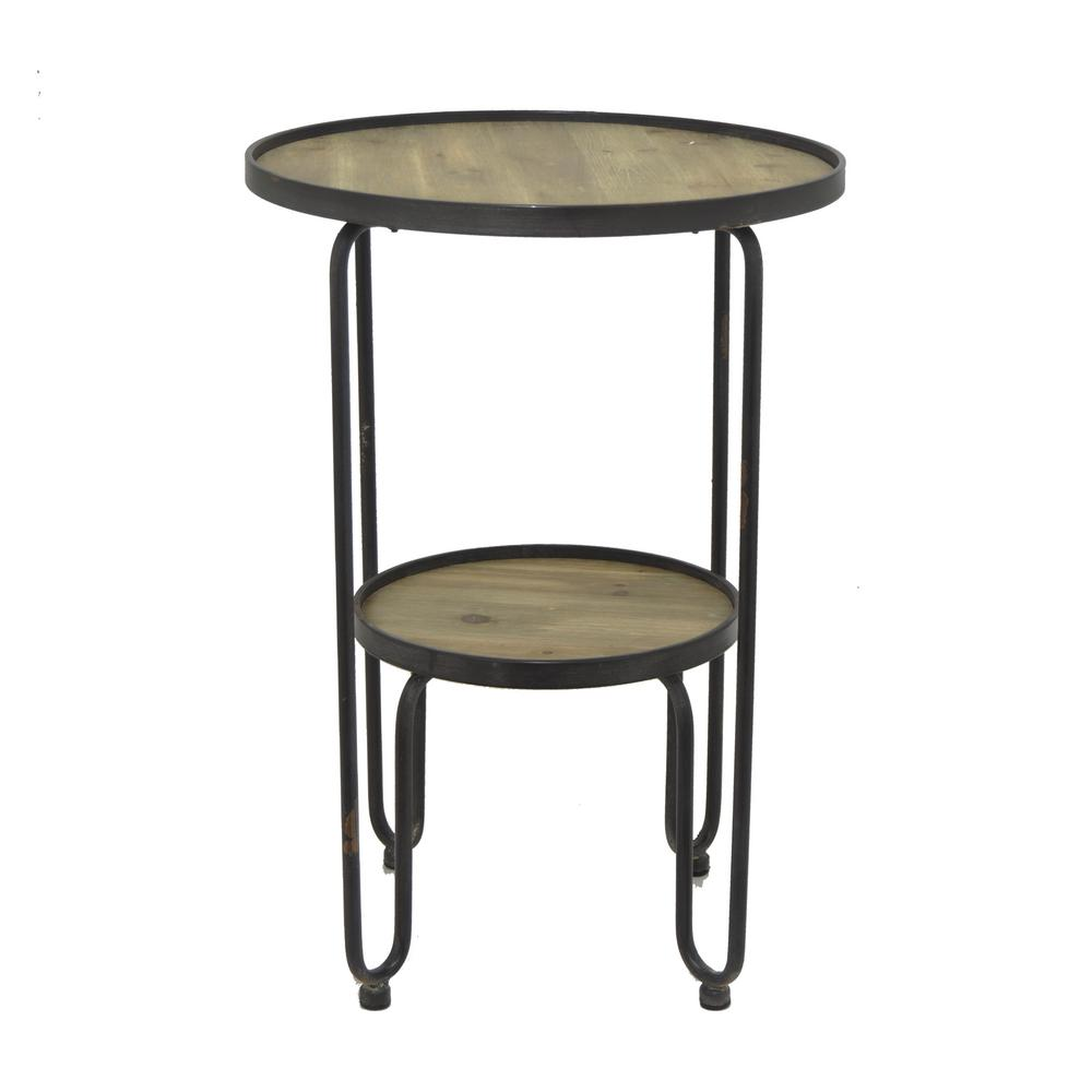 surprising Three Hands End Table Part - 1: THREE HANDS Black Metal and Wood Accent Table