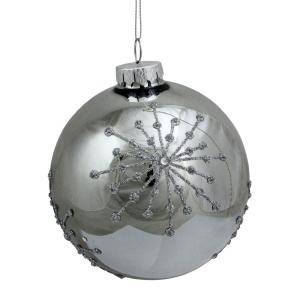 4 in. (100 mm)Shiny Silver Mirrored Ball with Raised Snowflake Design Christmas Ornament