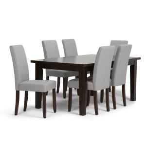 Simpli Home Acadian 7-Piece Dining Set with 6 Upholstered ...